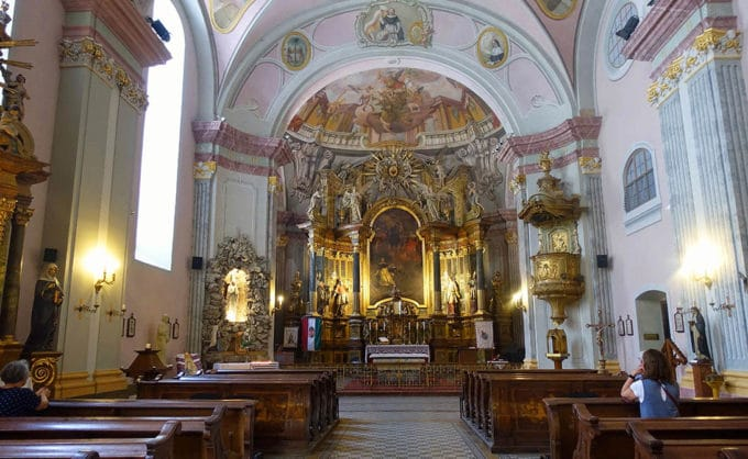 view of a church alter in Budapest