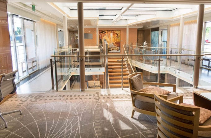 lounge area of a Viking Cruise Longship