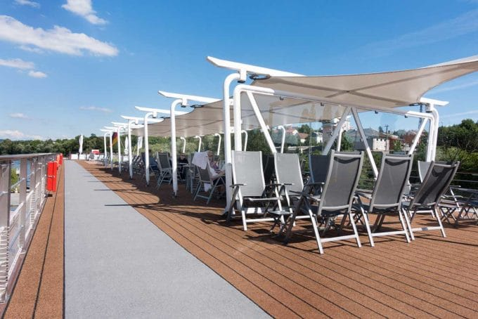 deck chairs on the top level of the Viking Cruise ship