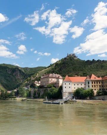 Daube River view of Durnstein, Austria