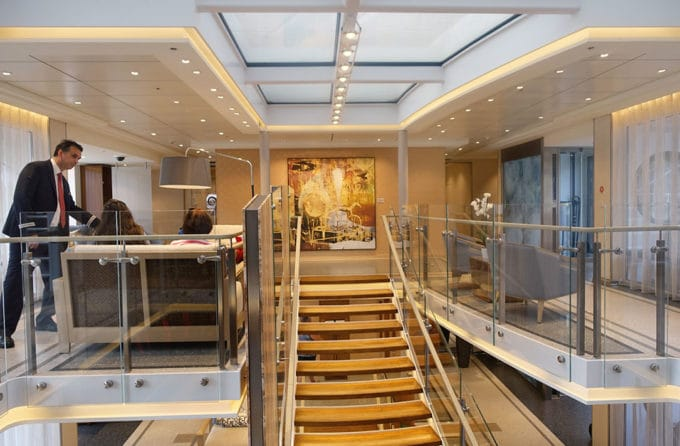Stairway from the third level to the second level of the Viking Cruise longship
