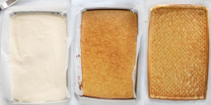 three images of panning and baking sponge cake