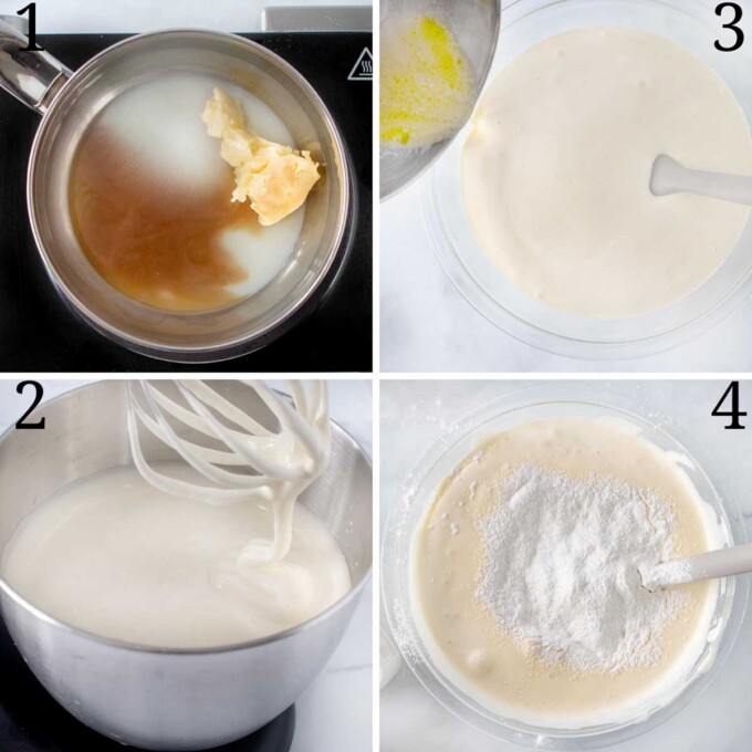 four images showing how to make the sponge cake