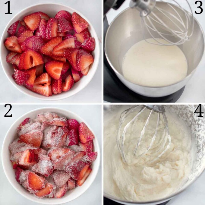 four images of prep for shortcake, strawberries and whipped cream