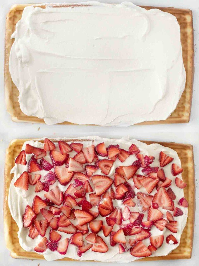 two images showing assembly of shortcake