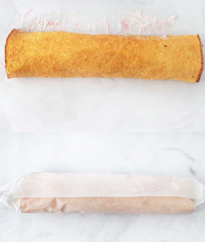 two images showing rolled shortcake
