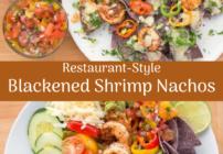 pinterest image for blackened shrimp nachos