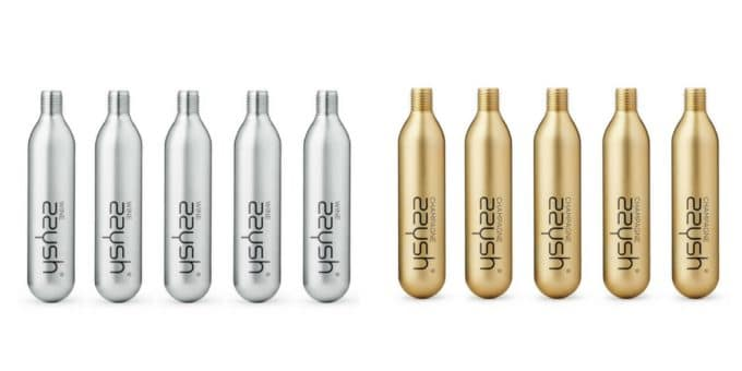 silver gas canisters for wine, gold gas canisters for champagne