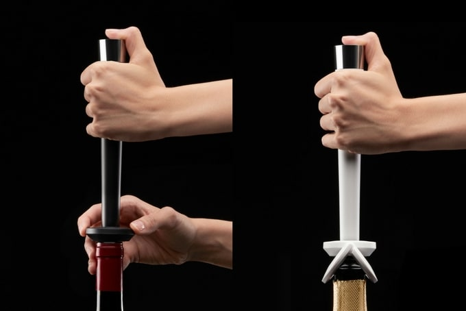 hands holding two different types of the zzysh wine system