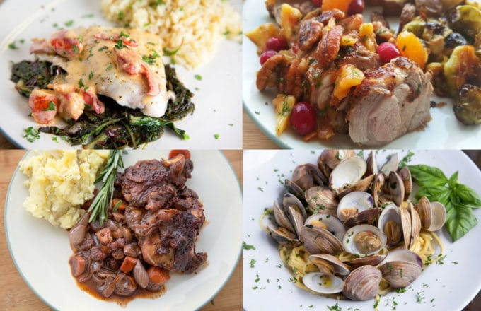 four dinners in a collage