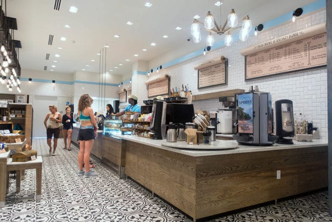 The counter with coffee station at Loews Sapphire Falls