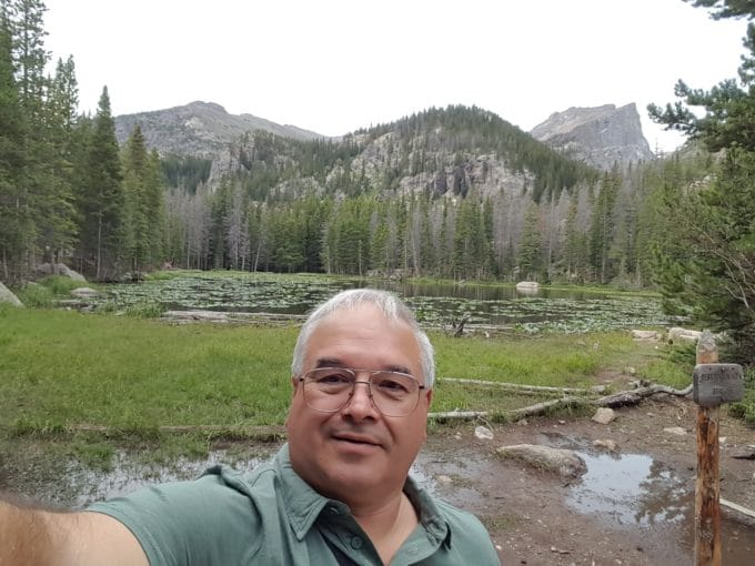 Chef Dennis at Nymph lake Rocky Mountain National Park Colorado