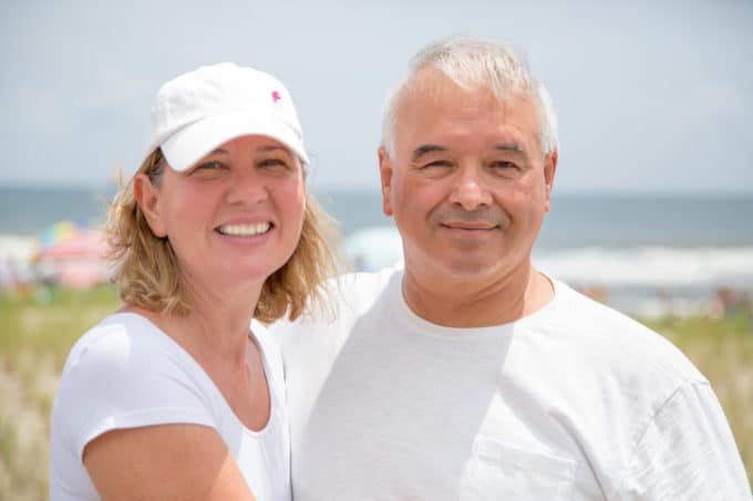 Chef Dennis with his wife Lisa at the beach in Ocean City , New Jersey