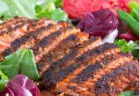 pinterest image for blackened salmon salad
