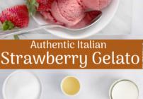 pinterest image for strawberry gelato
