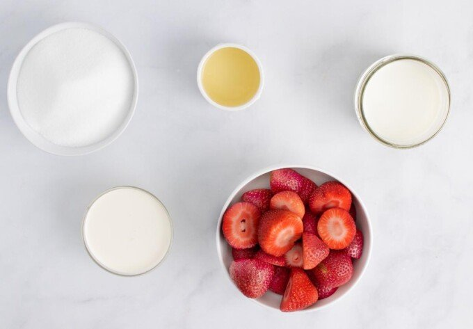 overhead view of ingredients needed to make strawberry gelato