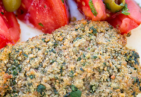 pinterest image for bread crumb crusted halibut