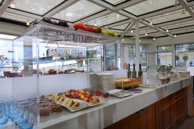 lunch buffet in the aquavit terrace on board the Viking longship