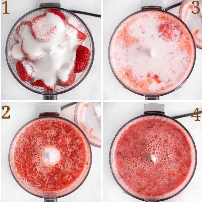four images showing how to prep strawberries for gelato