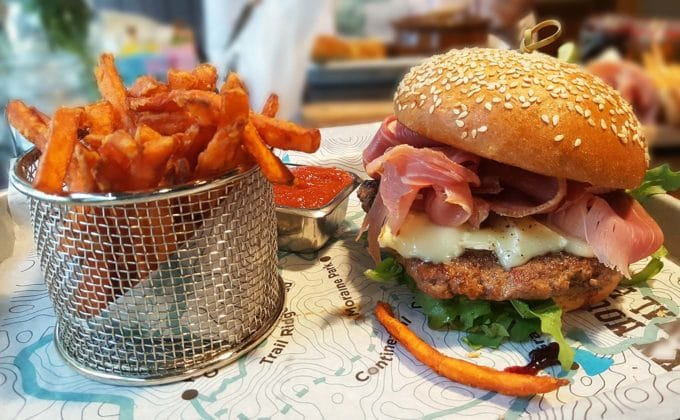 bison burger with proscuitto and an order of sweet potato fries