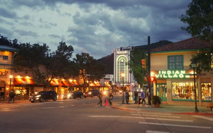 downtown Estes Park at dusk