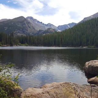 Bear lake at Rocky Mountain National park with mountains in the background