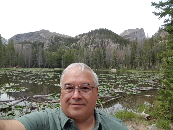 Chef Dennis at Nymph Lake in the Colorado Rockies