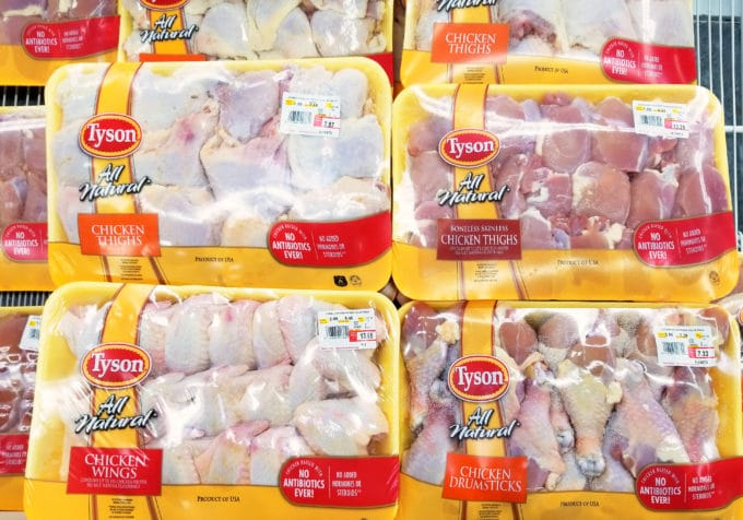 packages of Tyson fresh chicken pieces