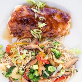 Miso Glazed Cod with Veggie Stir-fried Somen Noodles