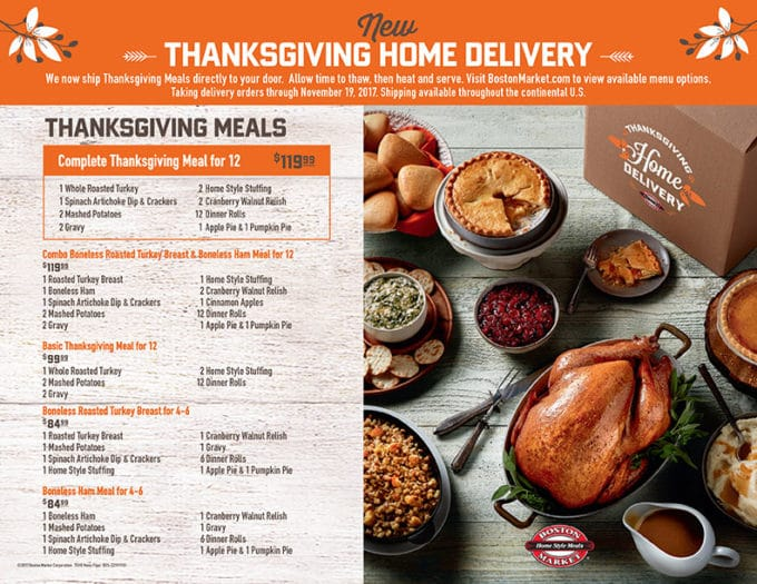 flyer of Thanksgiving Day dinner options from Boston Market