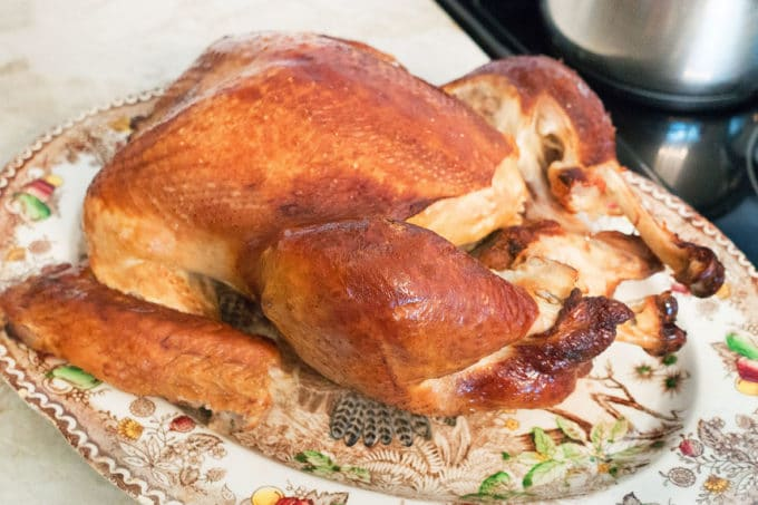 Fully Cooked Turkey on a Thanksgiving Platter