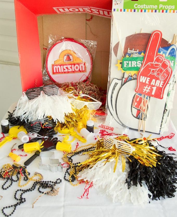 box of football party items sitting on a table