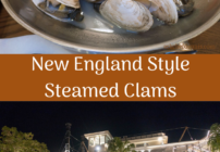 pinterest image for new england style steamed clams at the paddlefish