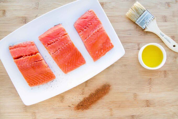overhead view of ingredients to make cedar planked salmon