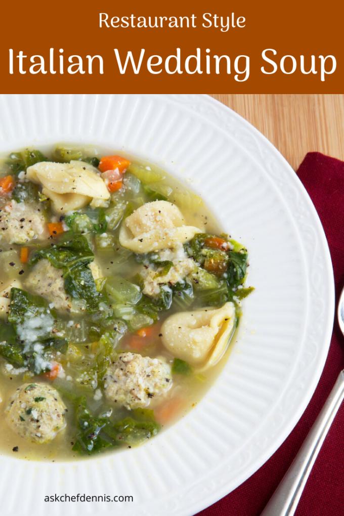 pinterest image forItalian Wedding Soup with Tortellini