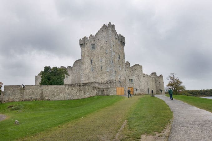 view of the Ross Castle from the entryway. Killarney, Ireland