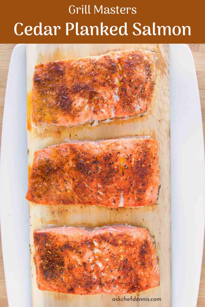Pinterest image for cedar planked salmon