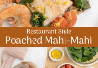 Pinterest image for poached mahi-mahi