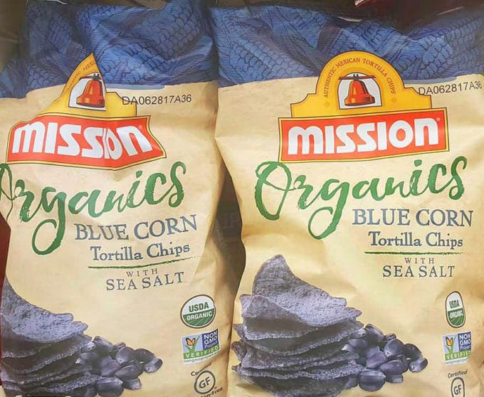 2 bags of Mission Organics blue corn tortilla chips