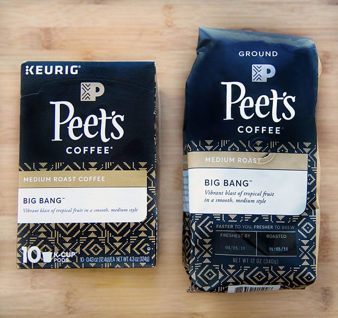 bag of P{eete's Big Bang Coffee and Box of Peete's K=cup Big Bang coffee sitting on a cutting board