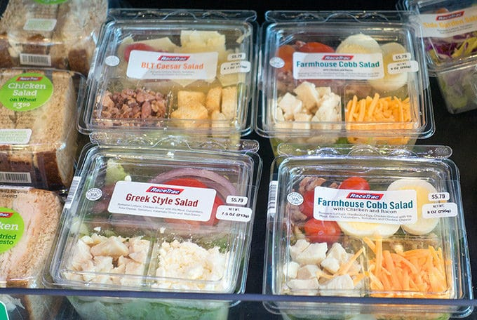 selections of salads in case at Racetrac