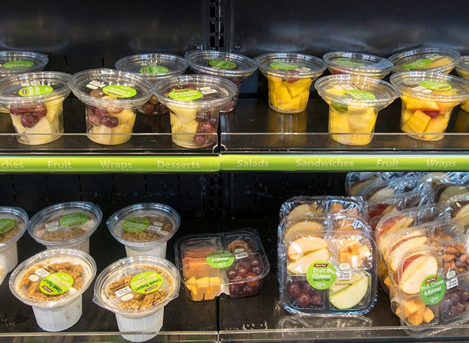 cups of fruit, yogurt and other healthy eating options on the rack at RaceTrac