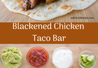 pinterest image for blackened chicken taco bar