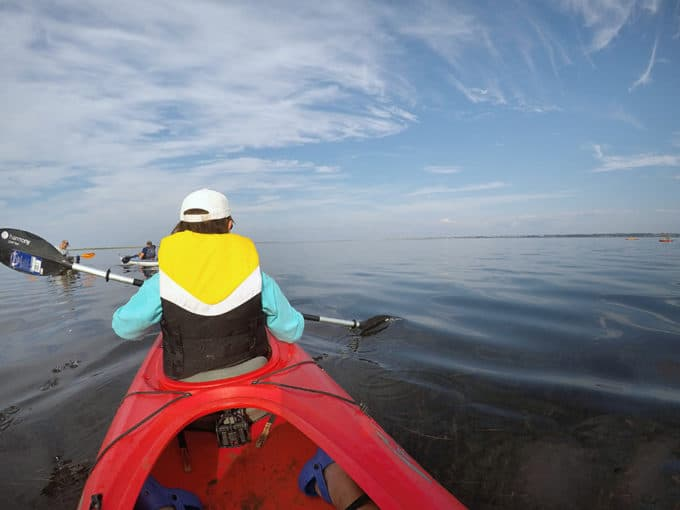 woman in the front of a kayak paddling on calm waters with a beautiful blue sky in Caraquet
