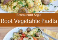 pinterest image for root vegetable paella