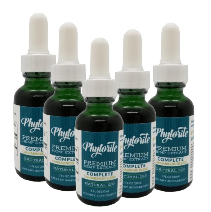 5 bottles of phytorite hemp oil