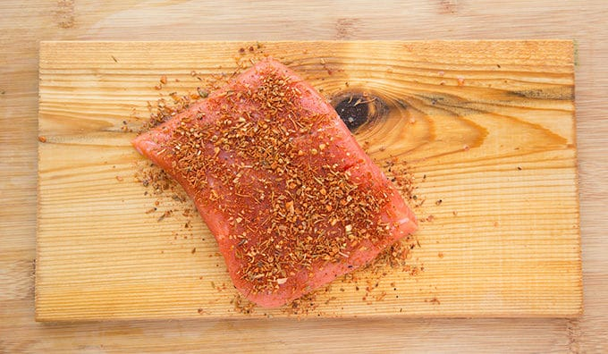 Uncooked Seasoned Salmon on Plank