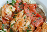 pinterest image for chicken and shrimp pepperoni