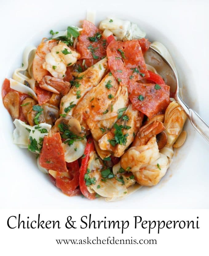 chicken and shrimp pepperoni in a white bowl