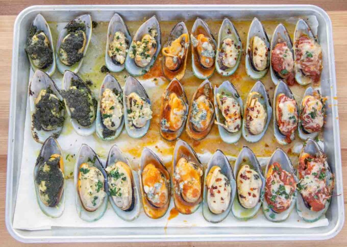 fully cooked mussels five ways on a sheet pan
